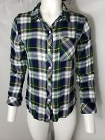 RAILS Women's Button Front Flannel Shirt Blue Green Plaid with Pocket Size S