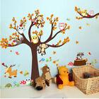 Forest Tree Branch Kids Animal Cartoon Owl Monkey Bear Wall Stickers Home Decor