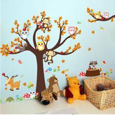 Animal Owl Wall Stickers Monkey Jungle Zoo Tree Baby Nursery Kids Room Decal KV