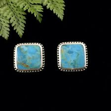 Stunning Large Square Turquoise Solid Sterling Silver 925 Stud Earrings 16mm