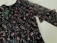 NWT $115 Ralph Lauren Women Top Shirt Blouse Long Sleeve Chiffon Black Floral XS