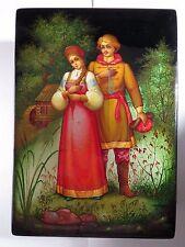 VINTAGE RUSSIAN RUSSIA LACQUER BOX PALEKH WOMAN MAN PAPER MACHE w/ RECEIPT