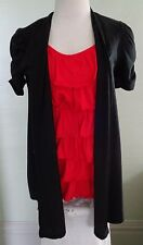 No Boundries Medium 7-9 Red & Black Blouse w/ Attached Jacket Ruffled Tank Top
