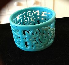 Statement Bracelet Blue Swirls Wide Bangle Plastic Vintage Jewelry