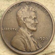 """1920 -S """"Fine"""" Lincoln Wheat Copper Small Cent. 1920 -S F Lincoln Wheat Penny."""