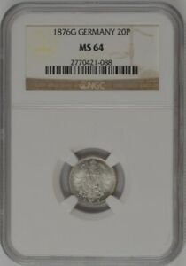 1876-G Germany 20 Pfennig - Wilhelm I (Large Shield) - NGC MS64