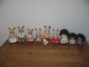 SYLVANIAN FAMILIES 10 figures, hedgehog, kangaroo & chocolate rabbits