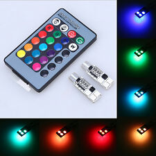 Pair RGB 6SMD LED T10 Car Dome Interior Light Bulbs Remote Control for Audi Ford