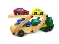 Melissa & Doug Carrier car and Truck and Wooden Toy set 1 truck and 4 car