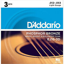* D'ADDARIO EJ16 PHOSPHOR BRONZE LIGHT ACOUSTIC GUITAR STRINGS 3-PACK .12-.53 *