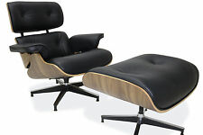 Eames Lounge Chair & Ottoman Reproduction 100% Genuine Leather Black Walnut