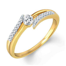 Round D/VVS1 Solitaire Bypass Engagement Ring 14K Yellow Gold Over 925 Silver