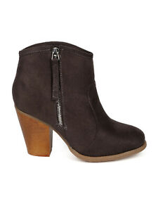 New Women Liliana Romane-1 Suede Round Toe Chunky Heel Ankle Riding Bootie