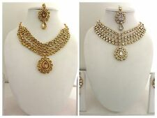 Indian Traditional Gold Tone Kundan Bridal & Wedding Party Fashion Jewelry Set