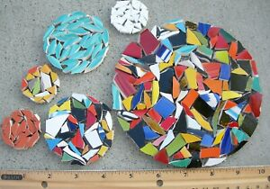 Multicolor Mesh Mounted Circle Mosaic Tile - Size & Color Variation
