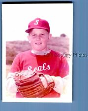 Found Color Photo I+0943 Teen Boy Posed In Baseball Uniform And Hat Posed
