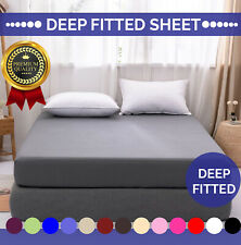 Full Fitted Sheet 100% Poly Cotton Bed Sheets Single Double King Super King Size