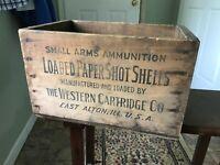 Vintage Wooden Western Shotgun Ammo Crate 12 Gauge
