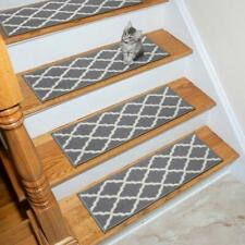 Glamour Collection Gray 9 in. x 26 in. Polypropylene Stair Tread Cover (12 pcs)