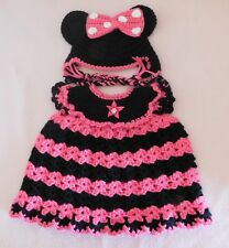 American Girl Doll Clothes HPk Minnie Dress & Hat Fit Bitty Baby/Berenguer 15-17