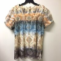 Dressbarn Woman's Plus Size 1X Blouse Tulle Lined Floral Print Fall Colors