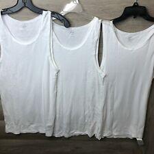 Old Navy Mens Size Medium Bright White Go-Dry Soft-Washed Rib-Knit Tanks 3-Pack