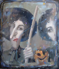 Original Russian oil on canvas Socialist realism Painting  2017 Time of witсhes