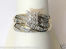 Pave Diamonds Rings Set Wedding Engagement Bridal Band 10k Yellow Gold
