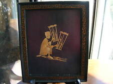 Vintage Asian Working Man Bamboo Art Matted & Framed