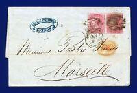 1855 SG62 4d Carmine J47(1) Pair on entire London to Marseilles CV £750 atme