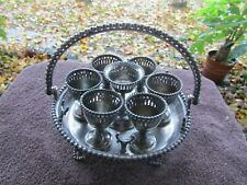 Antique Victorian Reed & Barton Silverplate Egg Basket Holder Egg Cups Great Con