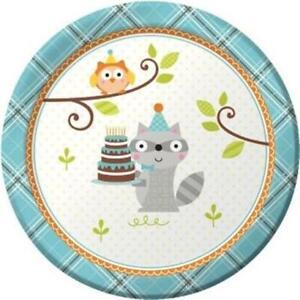 Happy Woodland Boy 7 Inch Paper Plates 8 Pack Owl Raccoon Birthday Tableware