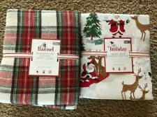 POTTERY BARN KIDS Flannel Morgan Plaid F/Q Duvet & FULL Merry Santa Sheets Set