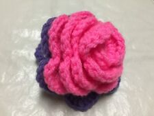 Luggage Bag Identifier ID Tag Crochet Rose Hot Pink Purple