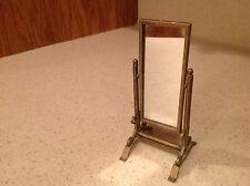 Miniature Metal Doll House Dressing Mirror W/ Real Mirror Brass Look Metal