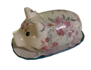 Pig Butter Dish Gibson Everyday Floral Ceramic Farmhouse Pioneer