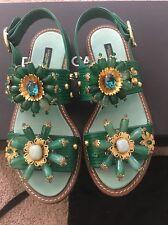 Dolce & Gabbana D&G Green Iguana Crystal Sandals 38.5 8.5 Flats Gladiators
