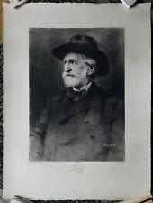 RUMPF Portrait de Giuseppe Verdi grande Gravure Originale Georg Gerlach Stehli