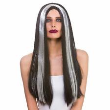 Long Black + Silver Streak Wig Ladies Halloween Morticia Fancy Dress
