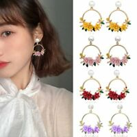 Fashion Women Pearl Rhinestone Flower Stud Earrings Dangle Wedding Party Jewelry