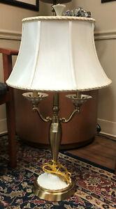 "Quoizel for Lenox Ivory Porcelain and Brass Lamp w/Original Lenox Shade - 31"""