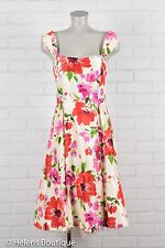 Signature by Robbie Bee woman's dress sz 12 Pink red floral square neck Back zip