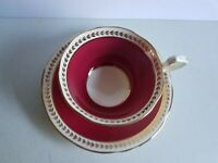 Aynsley Maroon and Gold Vintage Tea Cup and Saucer Set