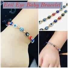 Newborn Baby/Childrens Boys/Girls Gold Filled Evil Eye Bracelet, For Protection