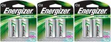 3 Energizer Rechargeable C C2 NiMH 2500mAh (6 Batteries) 2 Packs