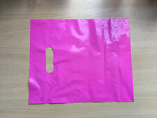 """100 x Pink plain strong plastic carrier party shopping bags -10x12x3"""" (Small)"""