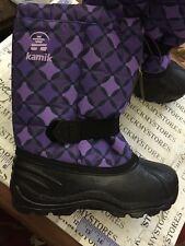 New Kamik Girls deep purple Winter Snow Boots Tickle6 Insulated made in Usa sz5
