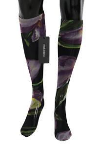 NEW $220 DOLCE & GABBANA Socks Multicolor Floral Tulip Nylon Stockings s. M