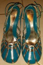 Michael Antonio Round Toe Slingback Teal Blue / Silver Heels, Size 6