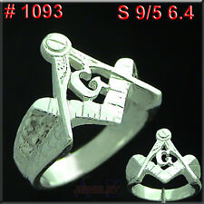 #1093 Men FREE Masonic Ring NUGGET Finger Hand Jewelry 925 Sterling Silver